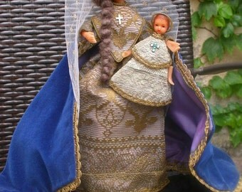 French antique reliquary antique hand carved  our lady baby crown hand made baby our lady gold lace hand embroidered dress cross wooden base