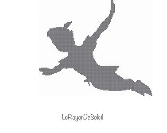 peter pan cross stitch pattern peter pan flying silhouette disney classic vintage film pdf instant download