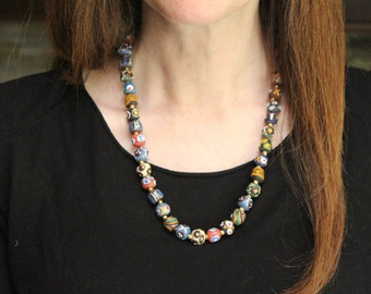 african jewelry african bead necklace / tribal necklace / african mali sand glass / ethiopian brass OOAK / african jewelry