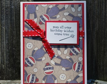 Handmade Greeting Card: Kids birthday card, sock monkey, red, childrens card