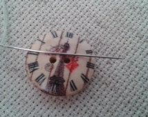 magnetic needle minder Vintage style clock button (needleminder, needle knack, needle nanny, needle keeper, needle holder,cross stitch)