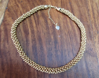 Gold Czech glass beads kumihimo necklace