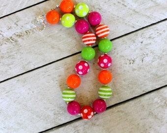 girls bubblegum necklace girl chunky bubblegum bead necklace orange hot pink lime green orange necklace fall necklace birthday necklace
