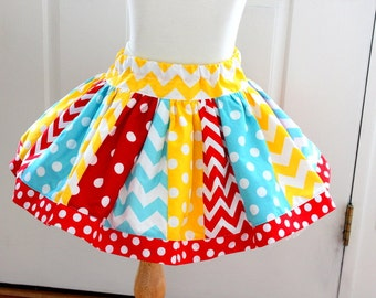 Girls circus skirt aqua red yellow chevron and polka dot  birthday skirt girls chevron skirt  summer skirt clothing skirt outfit set girls