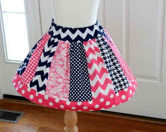 skirt for girls navy and hot pink skirt  birthday girl outfit chevron skirt navy raspberry chevron polka dot quatrefoil houndstooth skirt