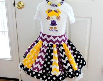 Girls cheerleader outfit.  Football girls set in black yellow purple. Girl cheer football cheerleader skirt set. Size 2t 3t 4t 5 6 8 10 12