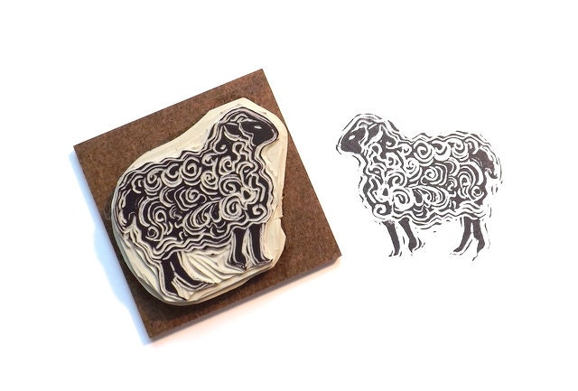 Sheep rubber stamp lamb hand carved greetings card by