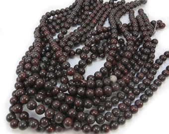Brecciated Jasper Beads, Natural 8mm Jasper Beads, 16 inch Strand, Red and Black Beads, Beading Supplies, Item 595pm