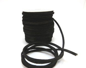 Suede Leather Lace Cord, Black 3-4mm Lace Cord, 4 Yards Suede Lace Cord, Leather Cord, Item 614ct