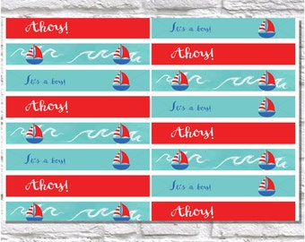 Nautical Printable Straw Flags, DIY Straw Flags, Baby Shower Decor, Boy Nautical - Digital File - Instant Download