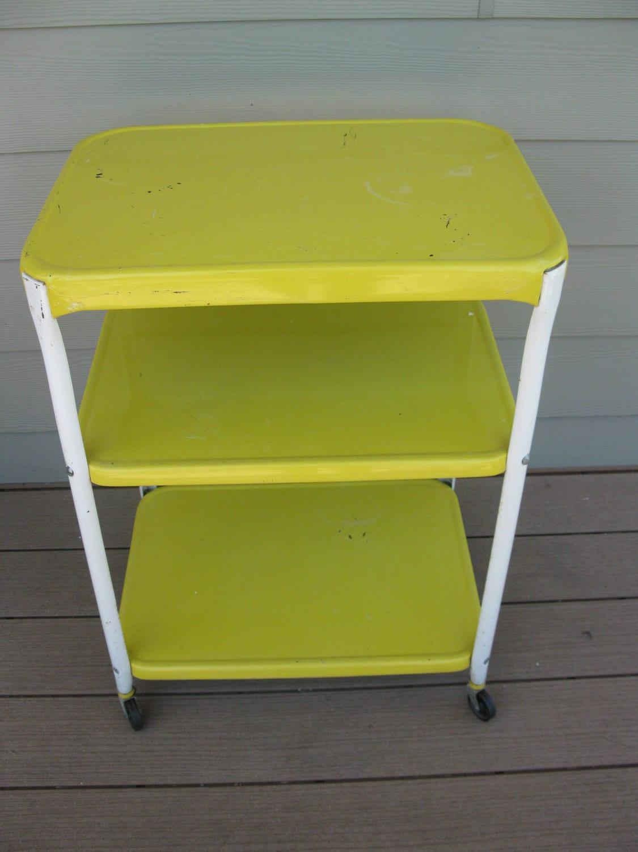Vintage Cosco Rolling Cart Metal 3 Tier 3 Shelf Yellow