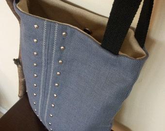 Blue Linen Shoulder Bag