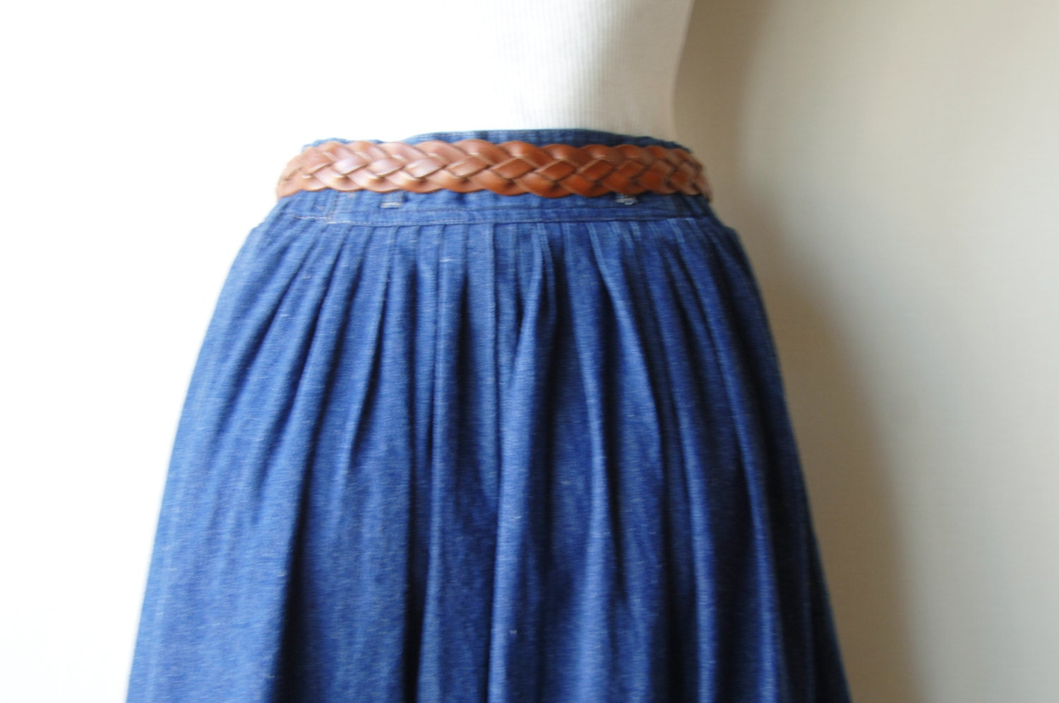 80s denim skirt button midi skirt size 6 by
