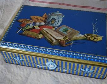 Vintage 1950s French Tin box cigarette tin Smoking box Wildlife Tin with lock