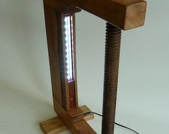 industrial   wooden screw clamp lamp 02