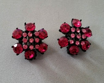 Fuchsia and Rose Rhinestones Japanned Finish Clip on Vintage Earrings