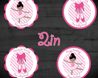 Twirly Ballerina Printable 2in Favor Tags Instant Download
