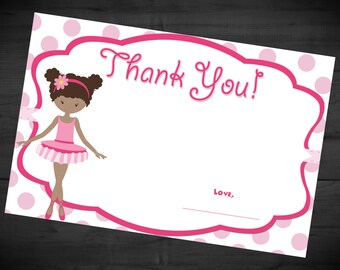Twirly Ballerina Printable Thank You Card INSTANT DOWNLOAD