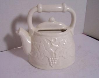 Vintage White Teapot Wall Pocket