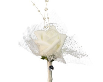 Boutonniere-Foam Rose with Pearl and Tulle