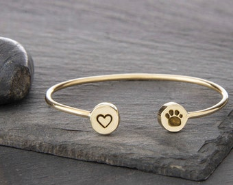 Heart and Paw Print Adjustable Cuff Bracelet, Heart Charm, Paw Print Charm, Dog Jewelry, Dog Bracelet, Dog Memorial, JIB249SBR