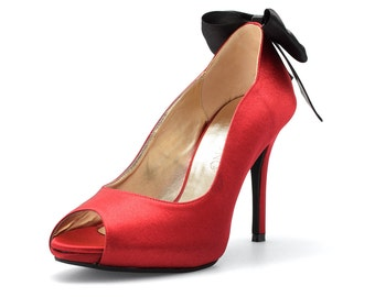 Red Devil, Custom Made Red Heels with Back Bow, Red Shoes With Bow, Red Wedding Shoes, Red Bridal Shoes, Red Dress Shoes