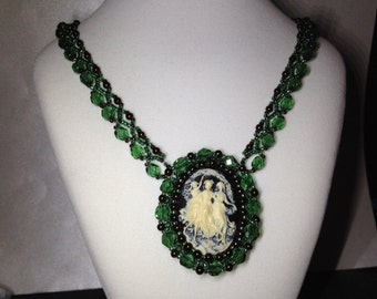 Forest Green and Chocolate Brown bead woven cameo necklace.  3 muses