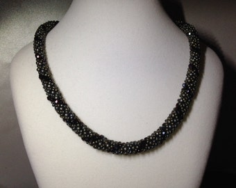 Matte grey, silver and burgandy/maroon bead woven rope necklace