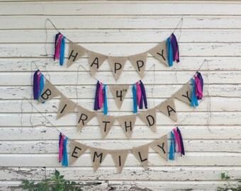 Custom Burlap Birthday Banner