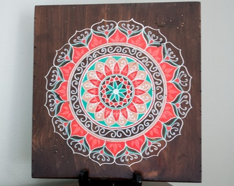 Mandala Art- Mandala on Distressed Wood- Mandala Wall Hanging- Mandala Decor- Red Mandala