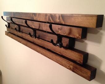 Rustic Wall Mount Wooden Coat Rack - 4 Hook Coat Hanger