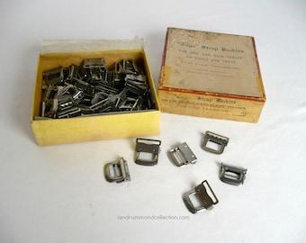 65 Vintage Togo Strap Buckles, Nickle Finish, in Original Box