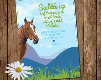 Saddle Up! Printable Girls invitation - Riding - Horse Show - Rodeo - Cowgirl