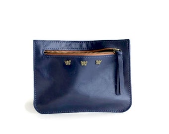 Leather zipper pouch in blue ,Blue leather purse , Woman wallet