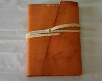 Refillable Leather Journal Cover with diagonal flap