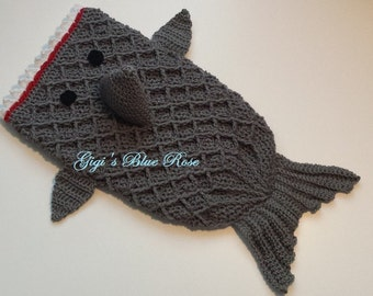 Crochet Baby Shark Costume/Size 0-3 mos/Includes Grey Hat/Ready to Ship