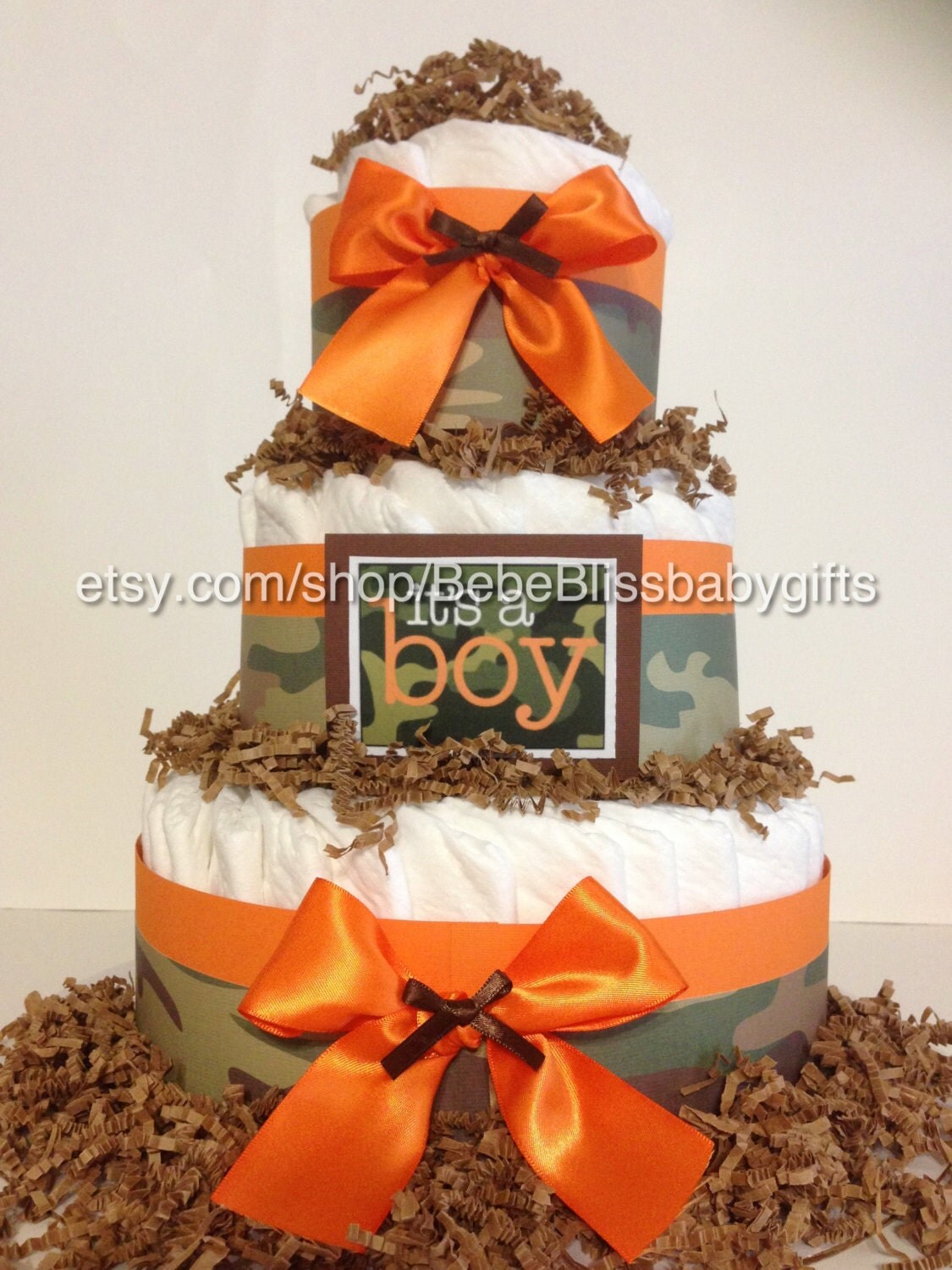 Pampered With an Orange Camo Diaper Cake