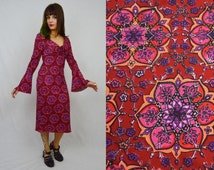 Groovy Boho Clothing Wholesale Mandala Dress Bell Sleeve