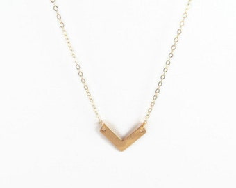 Mivi V  Necklace, Chevron Necklace, 14kt Gold Filled Necklace Gift for Her