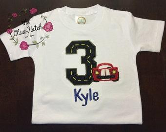Racecar Birthday Shirt - Applique Embroidery