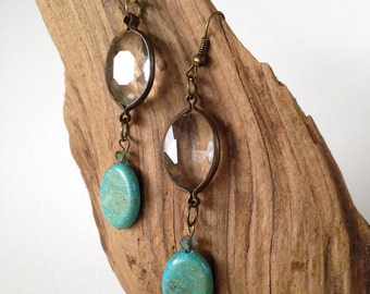 Faceted Glass Gypsy Style Earrings with Magnesite Stunning Dangle Turquoise Earrings Elegant Boho Style
