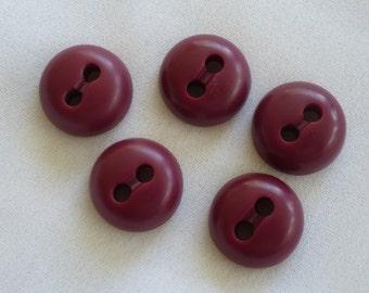 Vintage burgundy buttons.  Set of 6