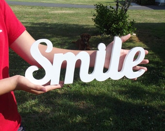 SMILE - Wooden Smile Sign, stand-alone decoration, self-standing, shelf display, wood scroll saw sign - smile