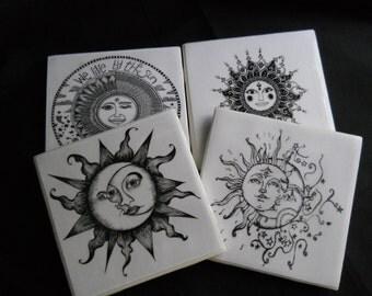 Sun and Moon Coasters ~ Ceramic Tile Coasters ~ Black and White ~ Bohemian Decor ~ Boho Decor ~ Hippy Decor ~ Coaster Set ~ Celestial