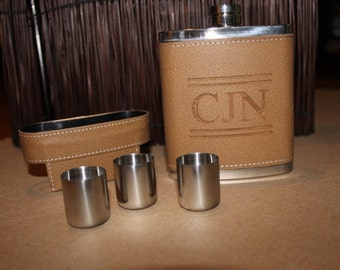 Engraved Leather Flask - Available in bulk!