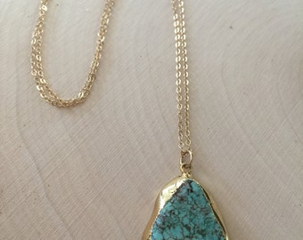 Turquoise Slice Pendant Necklace / GP Slice Turquoise Howlite / 14kt Gold Filled Chain / Boho / Beach Jewelry