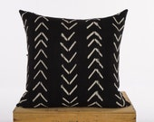 24 Inch Black and White African Mud Cloth Pillow Cover