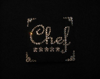 JAZZY CHEF PIN--Swarovski Crystals-Wearable Magnetic Brooch-Bling