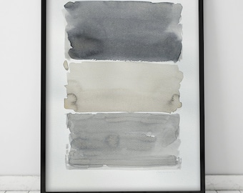 Original Watercolor Painting, Abstract Painting, Fine Art, Kunst, Pintura, Minimalist, Geometric Art, Stripes, Beige, Gray, White, Abstract