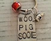 Arkansas Razorback woo pig sooie Keychain, Hog & Bead